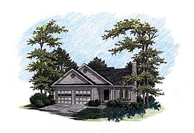 Traditional House Plan 92491 with 3 Beds, 3 Baths, 2 Car Garage Elevation