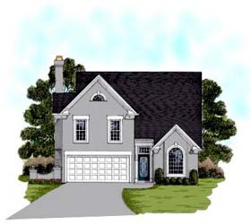 European House Plan 92492 with 3 Beds, 3 Baths, 2 Car Garage Elevation