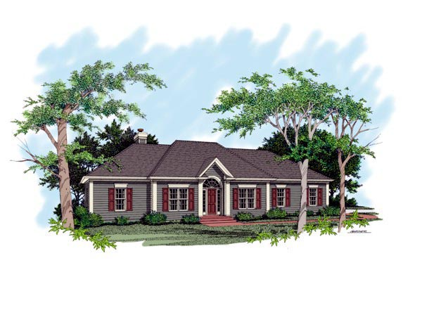 One-Story Traditional Elevation of Plan 92495