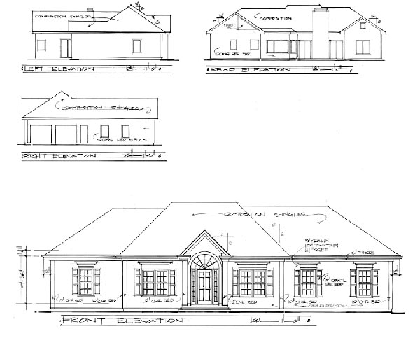 One-Story Traditional Rear Elevation of Plan 92495