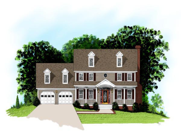 Colonial, Country House Plan 92498 with 4 Beds, 3 Baths, 2 Car Garage Front Elevation