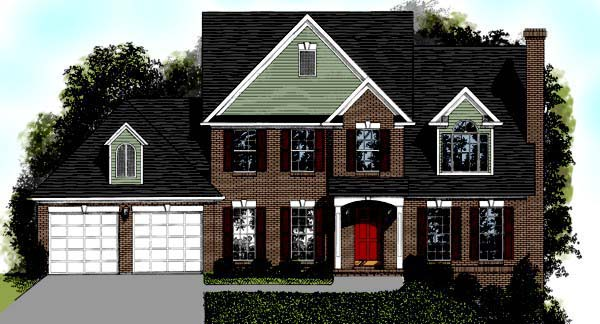 Traditional House Plan 92499 with 4 Beds, 4 Baths, 2 Car Garage Elevation