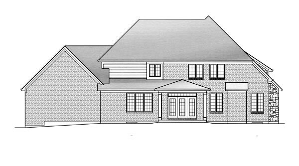 Country , Traditional , Rear Elevation of Plan 92600