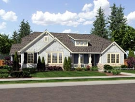 Ranch , Craftsman House Plan 92604 with 3 Beds, 3 Baths, 3 Car Garage Elevation
