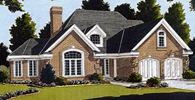 House Plan 92608 | European Victorian Style Plan with 2069 Sq Ft, 3 Bedrooms, 3 Bathrooms, 2 Car Garage Elevation