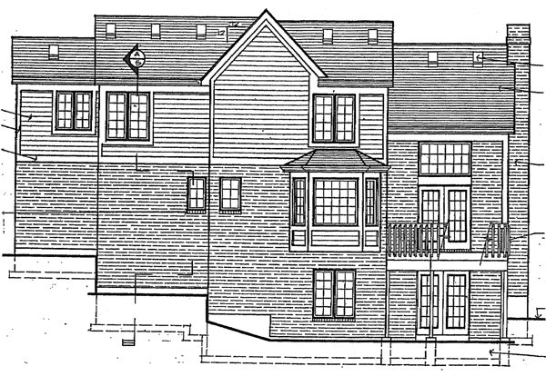 Traditional Rear Elevation of Plan 92609