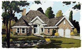 Victorian , European House Plan 92610 with 3 Beds, 3 Baths, 2 Car Garage Elevation