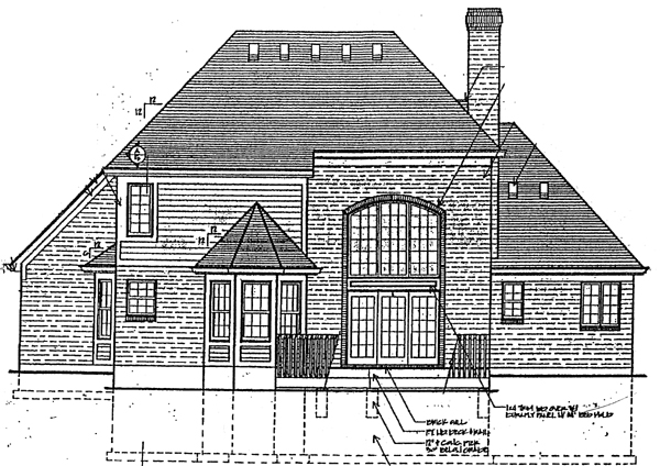 European , Victorian , Rear Elevation of Plan 92610