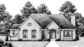 European House Plan 92615 with 3 Beds, 2 Baths, 2 Car Garage Elevation