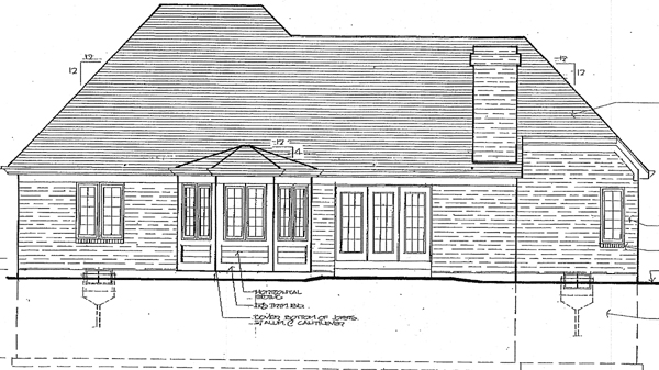 House Plan 92617 | European Style Plan with 1955 Sq Ft, 3 Bedrooms, 2 Bathrooms, 2 Car Garage Rear Elevation