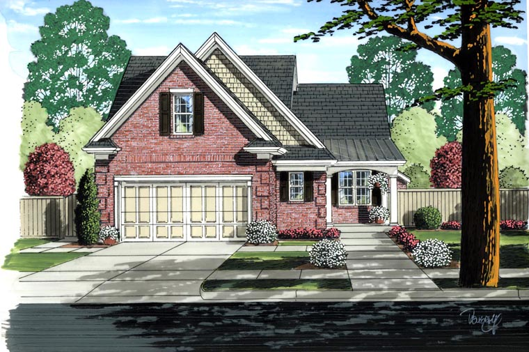 House Plan 92619 with 3 Beds, 3 Baths, 2 Car Garage Elevation