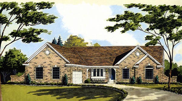 Ranch House Plan 92625 with 3 Beds, 2 Baths, 2 Car Garage Elevation