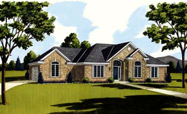 House Plan 92628 | European Style Plan with 1998 Sq Ft, 3 Bedrooms, 2 Bathrooms, 2 Car Garage Elevation