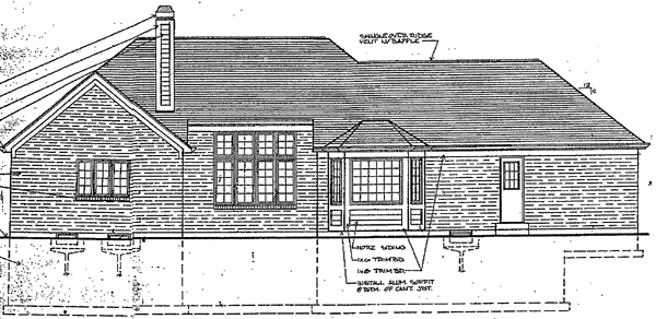 House Plan 92628 | European Style Plan with 1998 Sq Ft, 3 Bedrooms, 2 Bathrooms, 2 Car Garage Rear Elevation