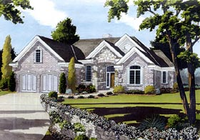 House Plan 92642 | European Traditional Style Plan with 2082 Sq Ft, 3 Bedrooms, 3 Bathrooms, 2 Car Garage Elevation