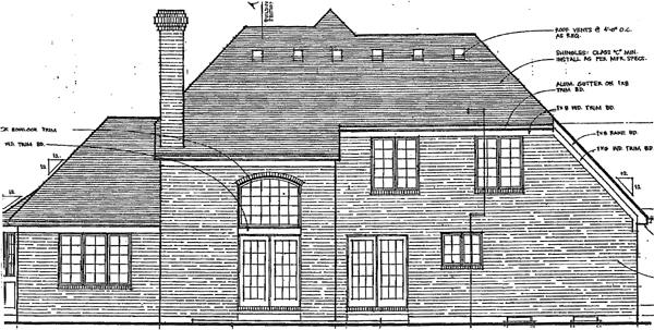 European, Tudor House Plan 92646 with 4 Beds, 3 Baths, 2 Car Garage Rear Elevation