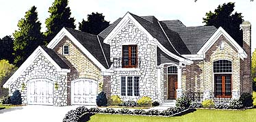 Bungalow, European, Tudor House Plan 92648 with 4 Beds, 3 Baths, 2 Car Garage Elevation