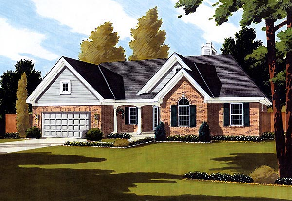 European House Plan 92649 with 3 Beds, 2 Baths, 2 Car Garage Front Elevation