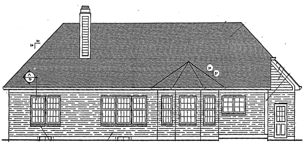 European House Plan 92649 Rear Elevation