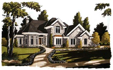 European House Plan 92651 with 4 Beds , 4 Baths , 2 Car Garage Elevation