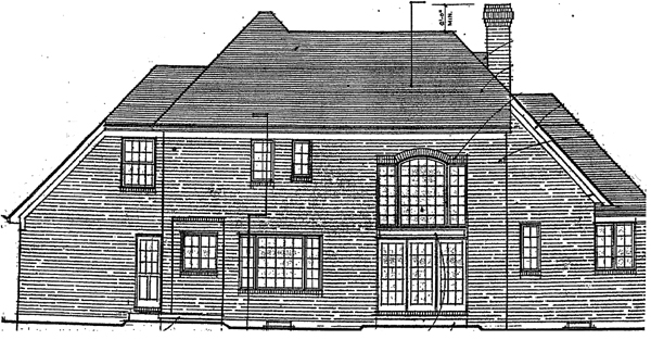 European House Plan 92651 with 4 Beds , 4 Baths , 2 Car Garage Rear Elevation