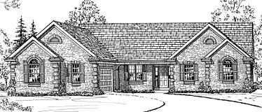 European Ranch House Plan 92655 Elevation