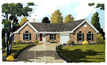 European, Ranch House Plan 92658 with 3 Beds, 2 Baths, 2 Car Garage Front Elevation
