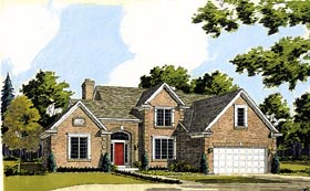 House Plan 92662 | Country European Style Plan with 2209 Sq Ft, 3 Bedrooms, 3 Bathrooms, 2 Car Garage Elevation