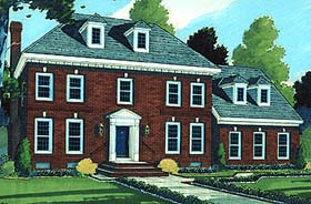 House Plan 92672 | Colonial European Southern Style Plan with 2099 Sq Ft, 4 Bedrooms, 3 Bathrooms, 2 Car Garage Elevation