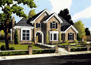 European House Plan 92676 with 4 Beds, 3 Baths, 2 Car Garage Elevation