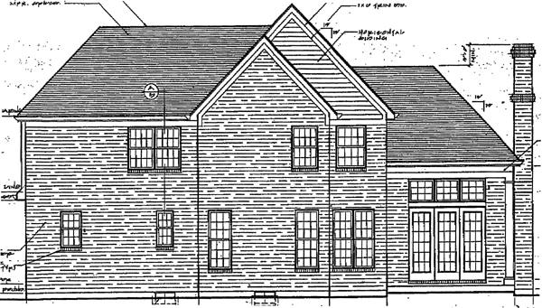 European House Plan 92676 with 4 Beds, 3 Baths, 2 Car Garage Rear Elevation