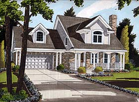 House Plan 92684   Country Style Plan with 1513 Sq Ft, 3 Bedrooms, 3 Bathrooms, 2 Car Garage Elevation