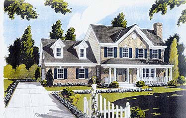 House Plan 92690 | Country Farmhouse Style Plan with 1698 Sq Ft, 3 Bedrooms, 3 Bathrooms, 2 Car Garage Elevation