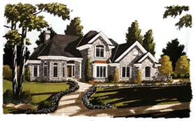 House Plan 92691 | European Victorian Style Plan with 2738 Sq Ft, 4 Bedrooms, 4 Bathrooms, 2 Car Garage Elevation