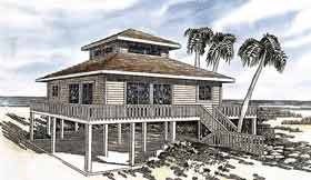 Coastal House Plan 92801 with 3 Beds, 2 Baths Elevation