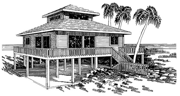 Coastal House Plan 92801 with 3 Beds, 2 Baths Elevation