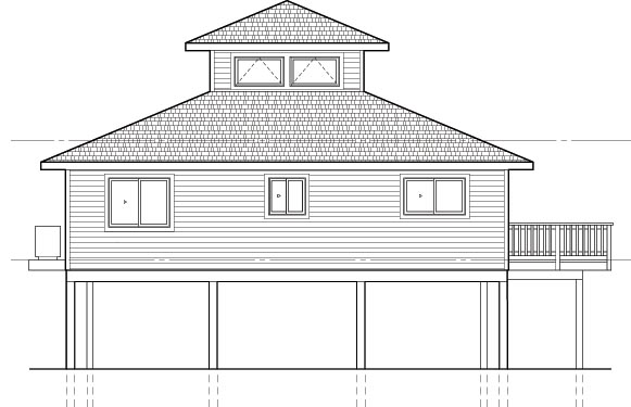 Coastal House Plan 92801 Rear Elevation