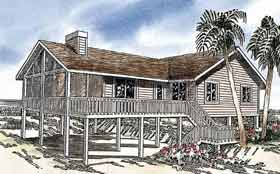 Ranch , Coastal House Plan 92803 with 4 Beds, 2 Baths Elevation