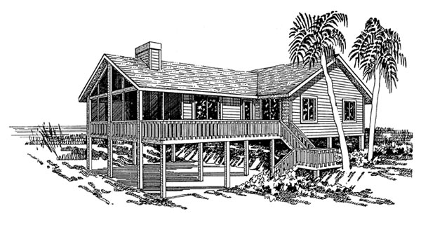 Coastal, Ranch House Plan 92803 with 4 Beds, 2 Baths Elevation