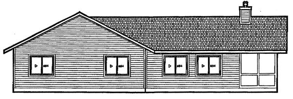 Coastal, Ranch House Plan 92803 with 4 Beds, 2 Baths Rear Elevation