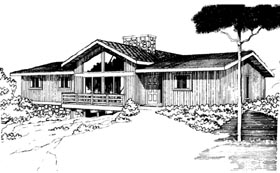 Contemporary , Ranch House Plan 92805 with 3 Beds, 2 Baths Elevation