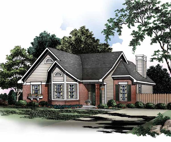 Country House Plan 93004 with 3 Beds, 2 Baths Elevation