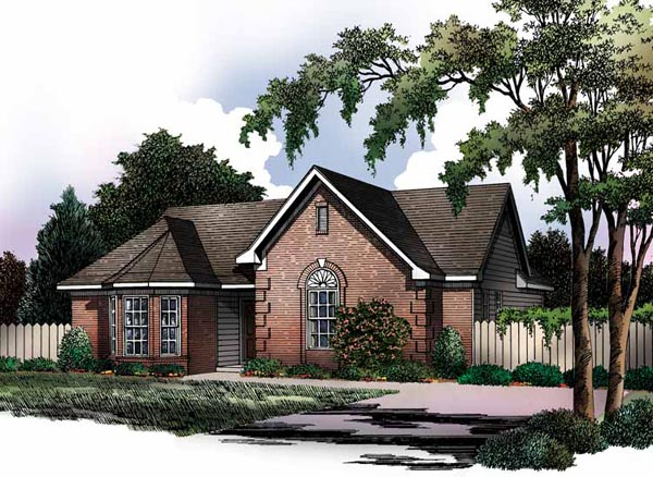 European, Ranch, Traditional House Plan 93015 with 3 Beds, 2 Baths Front Elevation