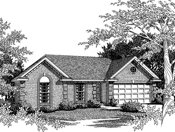 One-Story, Ranch House Plan 93017 with 3 Beds, 2 Baths, 2 Car Garage Front Elevation