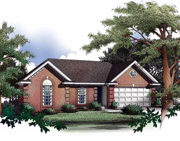 One-Story, Ranch House Plan 93020 with 3 Beds, 2 Baths, 2 Car Garage Elevation