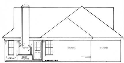 Ranch, Victorian House Plan 93024 with 3 Beds, 2 Baths, 2 Car Garage Rear Elevation