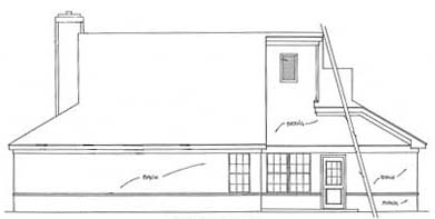 Country, Ranch, Traditional House Plan 93025 with 3 Beds, 2 Baths, 2 Car Garage Rear Elevation