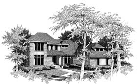 European , Contemporary House Plan 93039 with 4 Beds, 3 Baths, 3 Car Garage Elevation