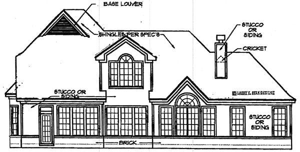 European House Plan 93041 Rear Elevation