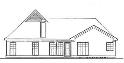 European, Traditional House Plan 93048 with 3 Beds, 2 Baths, 2 Car Garage Rear Elevation